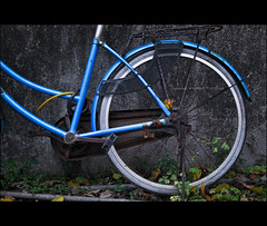 Life is like riding a bicycle - in order to keep your balance, you must keep moving. (Yug_and_her) Tags: blue colors bicycle wall contrast dark circle grey nikon rusted round parked aged tyre d90