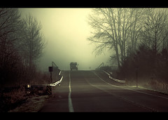 Hump truck (sparth) Tags: road trees west green lines yellow fog truck north foggy spooky willow redmond lonely brouillard atmospheric hump 70200f4l 70200l 5dmarkii