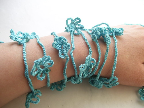 Turquoise crocheted lariat