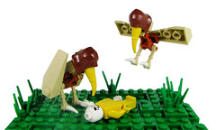 The Greater Hooded Vulture (Karf Oohlu) Tags: skeleton death lego vulture carrion vignette dinnertime moc