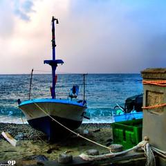 Winter Beach - Waiting (Osvaldo_Zoom) Tags: winter sea italy beach evening boat seaside fishing waiting ropes calabria messinastrait