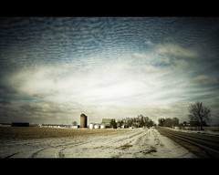 Farm Land (Oooah!) Tags: winter favorite snow field wisconsin clouds farm farmland silo hdr