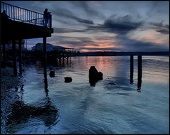 Titlow Beach Twilight, Tacoma, Washington (Don Briggs) Tags: sunset clouds twilight pilings titlowbeachtacomawa donbriggs 18200nikonlens nikond5000 singlejpegtonemapped