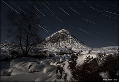 Dedicated to... (CU-Photography) Tags: snow tree robert night stars star scotland highlands christopher trails glen moonlit walker craig usher mor coe buachaille startrails etive pritchard stillreallyfeckingcold