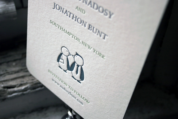 Custom Penguin Letterpress Save the Date