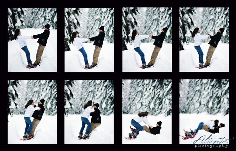 snowshoe engagement photography