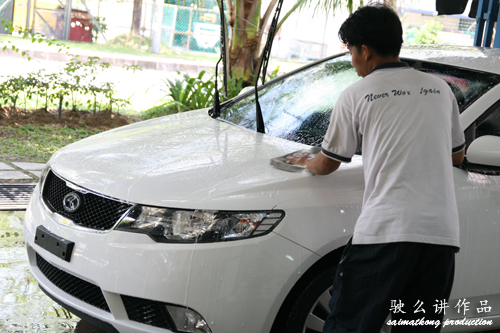 Washing car with warm water