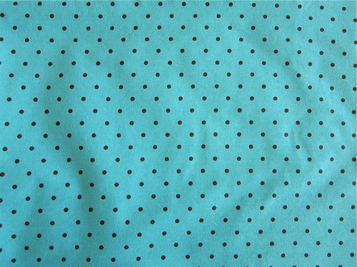 Turquoise and brown polka dot quilting cotton