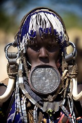 Mursi tribal woman fully decorated (ingetje tadros) Tags: africa travel portrait faces embroidery african culture streetphotography places jewelry tribal passion omovalley remote ethiopia ethnic bizarre ethiopian omo ethiopie mursitribe lipplate travelphotographer ingetjetadros