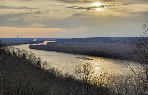 View of the Missouri River at sunset, atop the bluffs in Saint Albans, Missouri, USA