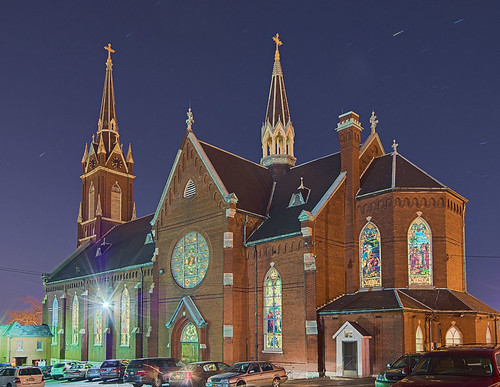 Saint Agatha Roman Catholic Church, in Saint Louis, Missouri, USA - exterior at night