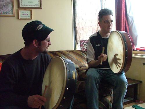 devon and jon playing drum