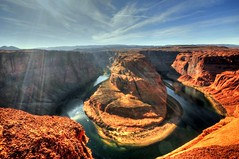 Horseshoe Bend an hour before sunset (NikonKnight) Tags: blue sunset reflection green water reflections river imagens sigma az page coloradoriver horseshoe 1020mm sunrays hdr lakepowell horseshoebend thegalaxy theme sky naturesprime