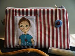 I love Rockn Roll ... (monaw2008) Tags: painting design handmade stripes makeup pouch button zipper patchwork applique monaw monaw2008