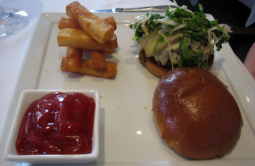 Burger with huge fries at L'Espalier