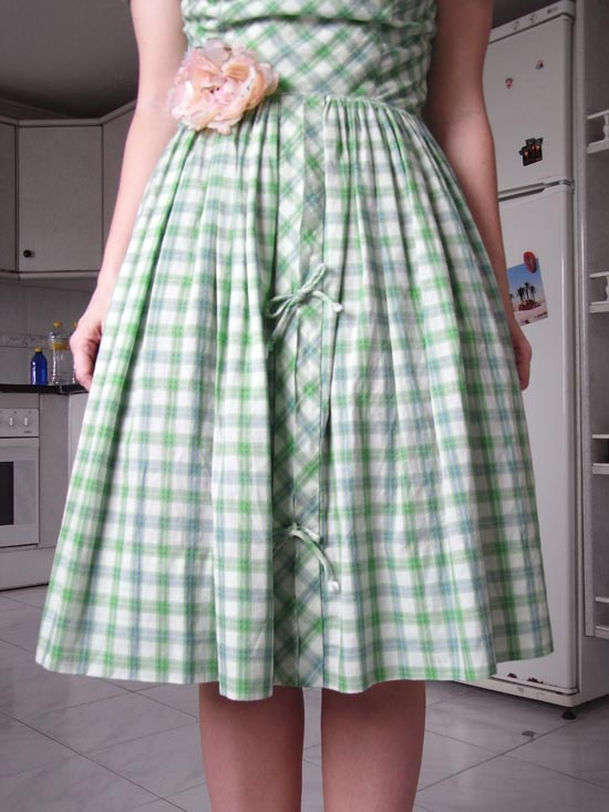 Green checkered dress 2
