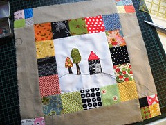 The first ... (monaw2008) Tags: house tree square handmade block applique quiltblock pieced monaw monaw2008 eurobeeblock