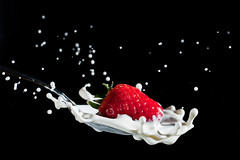 Strawberry Splash (Vincent Montibus) Tags: macro strawberry nikon cream spoon drop nikkor vr fraise d3 afs cuillre crme mikro 105mm strobist sb900 lach nikkormikroafsvr105mmf28
