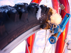 Snow Tire (icybikes) Tags: winter snow ice bicycle alaska mountainbike bikes anchorage studs snowbiking studdedtire