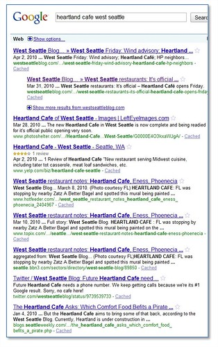 Google Search Results: Heartland Cafe