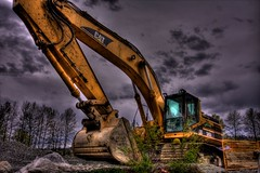 Backhoe / HDR / Heavy Equipment / Construction / CAT / Kyle Bailey (Kyle Bailey - Da Big Cheeze) Tags: inspiration tractor yellow vancouver canon construction professional example dirt shovel inspire dig backhoe hdr critique heavyequiptment kylebailey wwwrookiephotocom worldmachineshdr