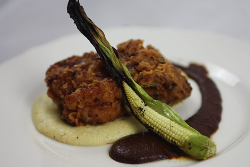 Fried Chicken, Cantal Polenta, Baby Corn, Mole