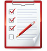 Clipart Illustration of a Red Pencil Marking Of Items On A Check List On A Clipboard by tomas_fitnesscoach