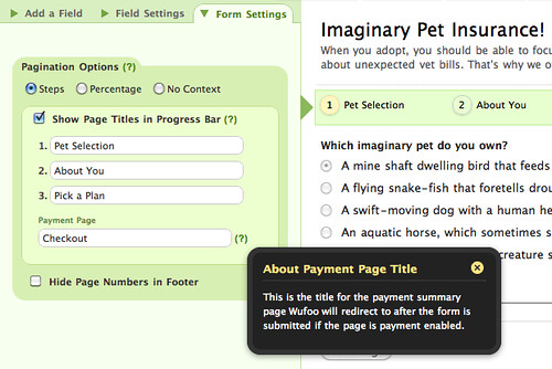 You can customize the title of the payment page in the Form Settings