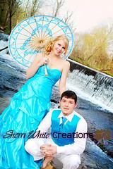 Prom Creek (CreativeMommy / SherriWhite) Tags: creek waterfall parasol turquois seniors promsession