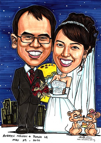 wedding couple caricatures @ Minneapolis A3