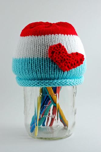 Stripe Heart Hat