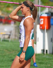 Fierce Competitor (GRey_WoLFie) Tags: green college sports beauty nikon track april ponytail nikkor athlete toned fit sporty 2010 lean greywolf javelin d80