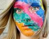 tootie fruity (_ashleyfinn_) Tags: pink blue portrait orange face yellow self paint purple wind teal blow flip selfie ashleyrenee