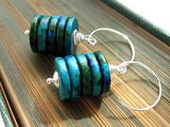Aegean Earrings (Claire Williams Handcrafted Jewellery) Tags: blue sea green silver ceramic beads mediterranean handmade jewelry jewellery handcrafted accessories earrings discs mykonos sterlingsilver