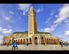 Masjid Al-Hassan II ! (Bashar Shglila) Tags: 2 sky people art beautiful architecture clouds photo flickr king top sony islam pray great kingdom grand mosque best most morocco ii maroc marocco casablanca hassan michel thani marruecos merge tani masjid  largest islamic viewed       jamaa    alhassan      addar     albayda   almarib pinseau hx1 mygearand