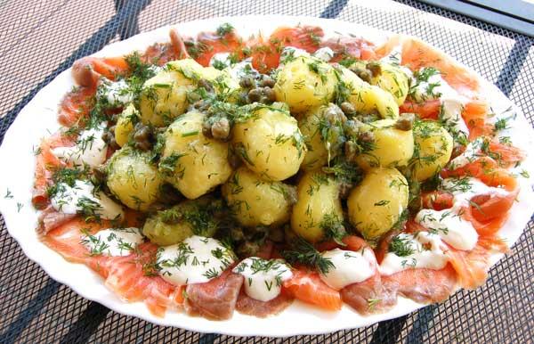 рецепт картофельный салат с семгой