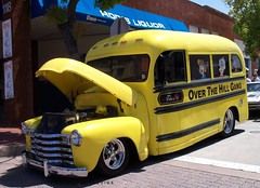 1951 Chevy School Bus (pmadsidney) Tags: orange car show california thetrafficcircle carshow classic custom hotrod antique chevrolet gmc fordwoodywagon woodie 1949 1950 1951 advanceddesign bus school schoolbus over hill gang