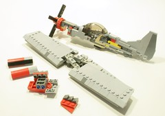 breakdown 1 (psiaki) Tags: airplane lego wwii north american mustang batmobile p51 moc