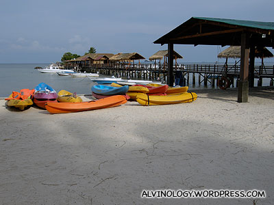 Some of the sea sports amenities at Agro