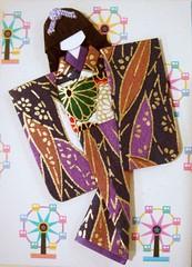 ATC251 - At the fairgrounds (tengds) Tags: brown leaves atc cord fairgrounds purple ferriswheel kimono obi papercraft japanesepaper washi ningyo japanesepattern handmadedoll handmadecard chiyogami hairbow yuzenwashi japanesepaperdoll washidoll origamidoll tengds