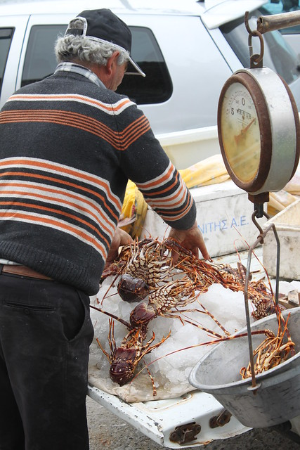 Fisherman selling lobsters