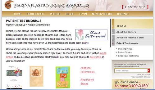 Marina Plastic Surgery Associates Testimonials Page