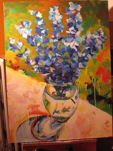 WIP Delphiniums 30x40, acrylic on canvas