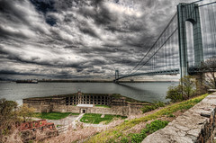 Dark Clouds & Silver Linings (_Robert C_) Tags: bridge brooklyn sigma statenisland 1020mm verrazanobridge hdr dreamtheater d300 thenarrows photomatix fortwadsworth batteryweed topazadjust robertcatalano