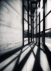 Shadows (Philipp Klinger Photography) Tags: travel windows light shadow vacation sun holiday tree texture window glass lines wall museum architecture germany munich mnchen point concrete bayern deutschland bavaria licht nikon europa europe shadows angle steel oberbayern wide wideangle moderne shadowplay vanishing philipp schatten exposed pinakothekdermoderne pinakothek sichtbeton klinger schattenspiel fairfaced modernepinakothek d700 dcdead vanagram