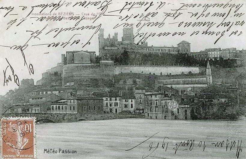 crue de l'Orb à Béziers pendant l'automne 1907