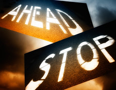 Stop Ahead (Tonym1) Tags: blue clouds gold abstact