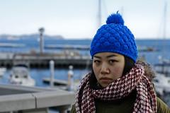 Seaside Blues (mctrent) Tags: ocean blue sea cold beach water face hat japan port scarf coast seaside warm sad fluffy 日本 beanie peninsula kanagawa atami 神奈川 熱海 5photosaday