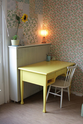 After ;))) New wallpaper and yellow desk at the upper floor in our house...