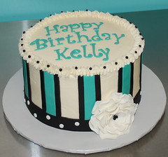 Teal & Black Birthday Cake (cjmjcrlm (Rebecca)) Tags: birthday flowers white black cake teal stripes dots fondant buttercream fantasyflower